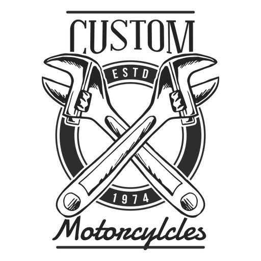 Spanner wrench text motocycle badge