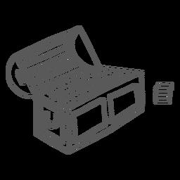Tronco caja cofre moneda oro doodle