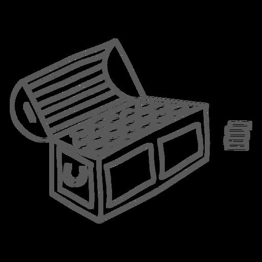 Doodle de ouro de moeda de caixa de tronco Transparent PNG