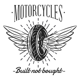 Rueda ala texto motociclo lema insignia