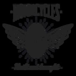 Wheel wing text motocycle motto badge