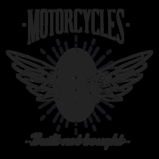 Insignia del lema de la motocicleta del texto del ala de la rueda