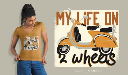 Diseño de camiseta de scooter life.