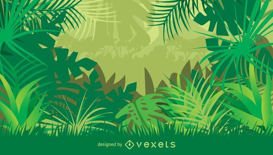 Quadro de selva com plantas e folhas tropicais