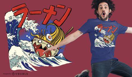 Projeto do t-shirt do navio dos Ramen