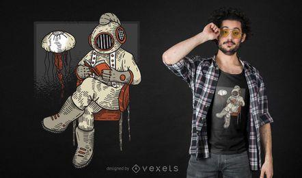 Design do t-shirt do mergulhador da leitura