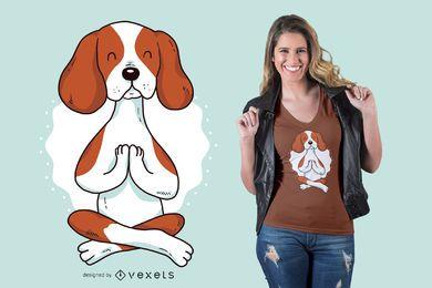 Projeto do t-shirt da ioga do cão