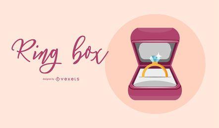 Ilustración de caja de anillo de diamante