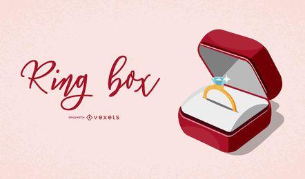 Ilustración elegante de la caja del anillo