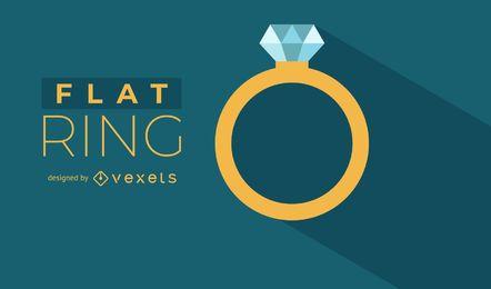 Ilustração plana do anel de ouro