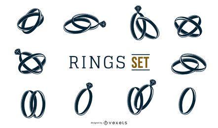 Conjunto de anillos blancos y negros