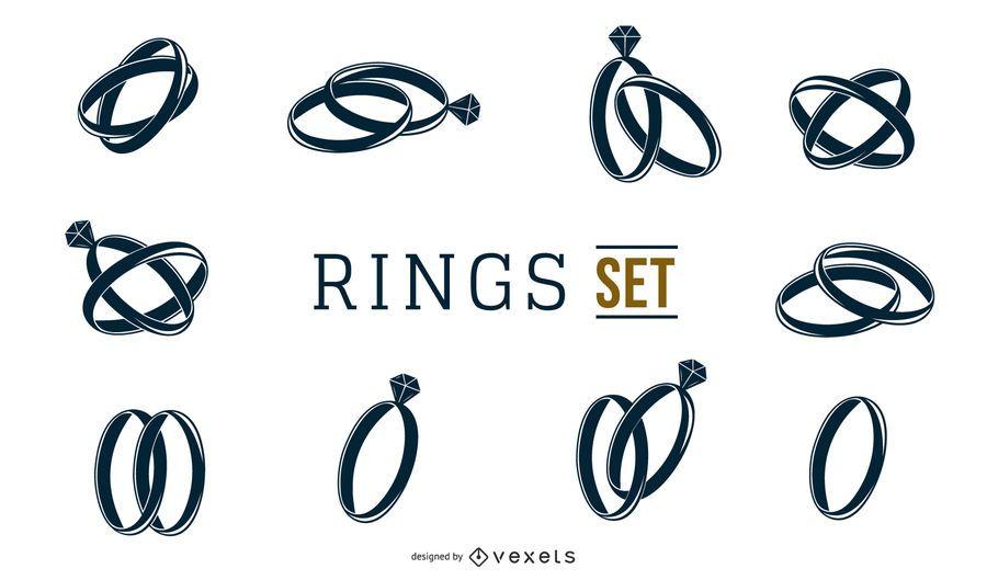 Conjunto de anéis preto e branco