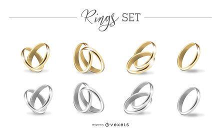 Conjunto de anéis de ouro e prata