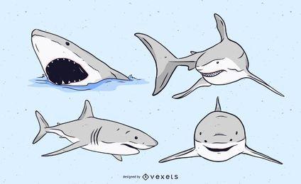 Conjunto de ilustração de tubarão