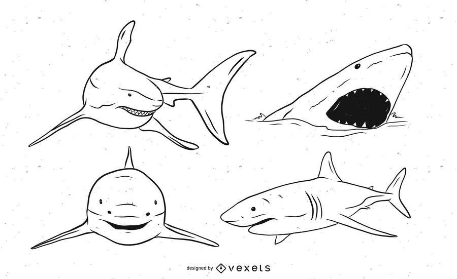 Conjunto de vetores de tubarão preto e branco