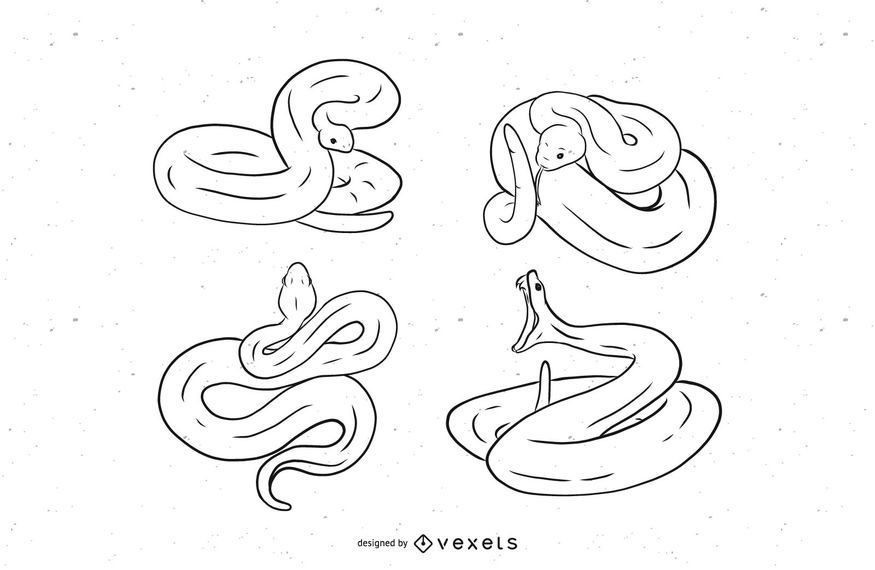 Snake Stroke Illustration Set