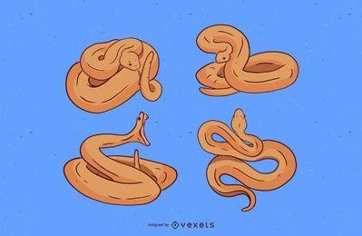 Conjunto de ilustração de cobra