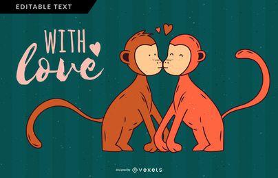 Diseño de ilustración de pareja de mono