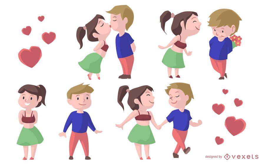 Valentinsgruß-Paar-Karikatur-Satz