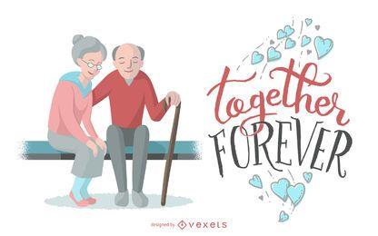 Juntos por siempre pareja ilustración