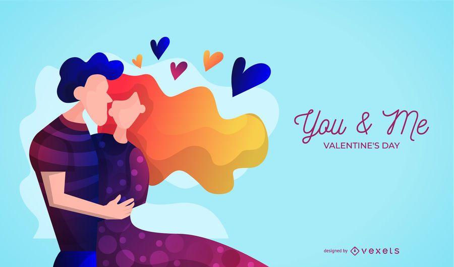 Valentinstag-Paar-Illustration