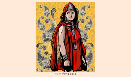 Ilustración de mujer vestida de rojo