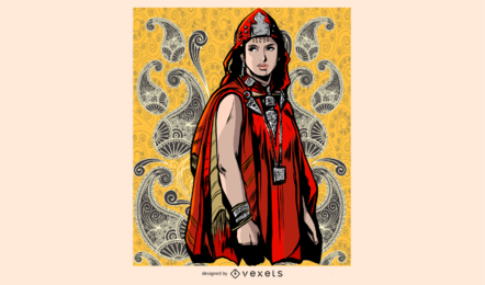 Red Dressed Woman Illustration