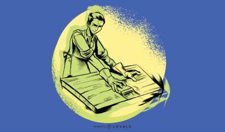 Homem, lixar, madeira, ilustração