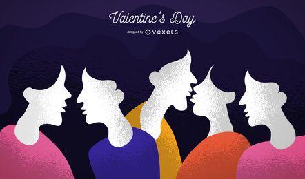 Caricatura, valentines, par, ilustração