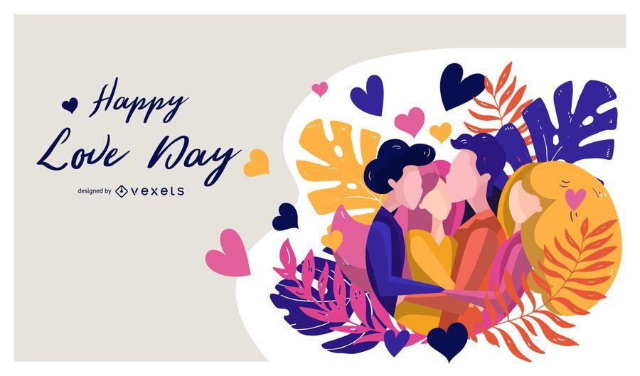 Happy Love Day Illustration Design