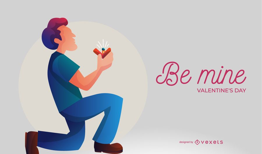 Be Mine Proposal Illustration