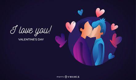 Eu te amo! Ilustração do dia dos namorados