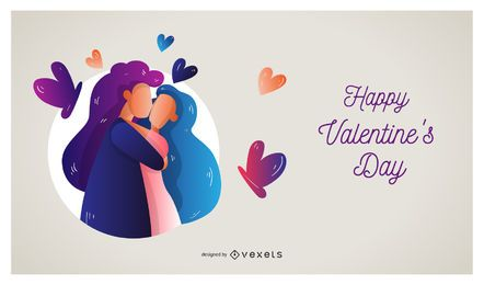 Same Sex Couple Valentine's Day Ilustration