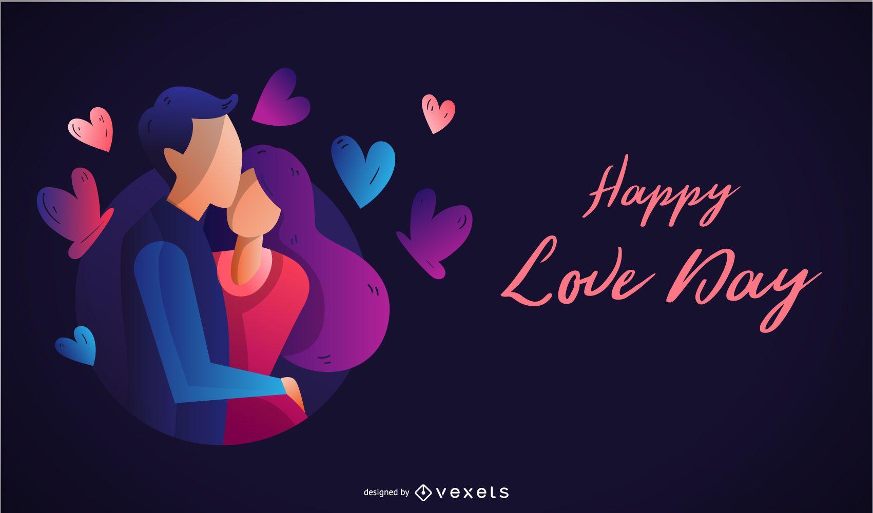 Ilustración de pareja feliz día de amor