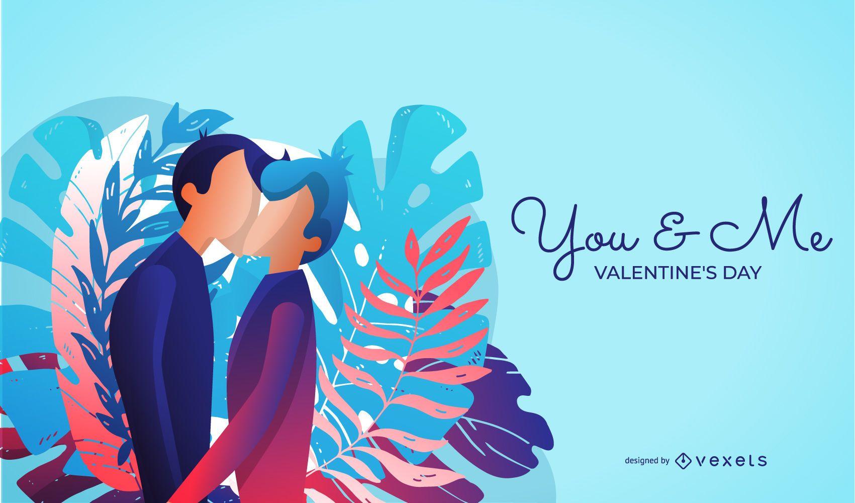Ilustración del día de San Valentín del mismo sexo