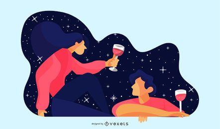 Ilustração de encontro noturno