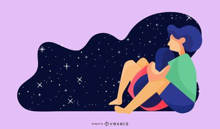 Stargazing Couple Illustration