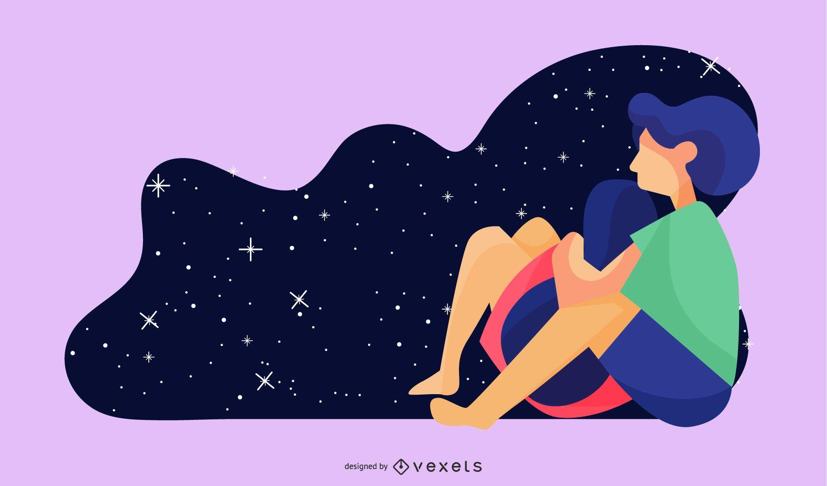 Ilustración de pareja de observación de estrellas