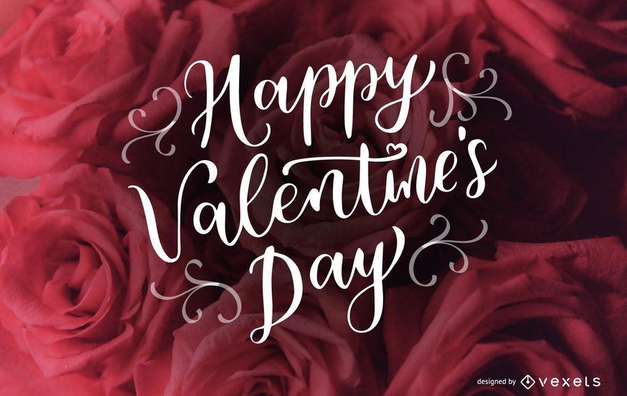 Diseño cursivo feliz día de San Valentín letras