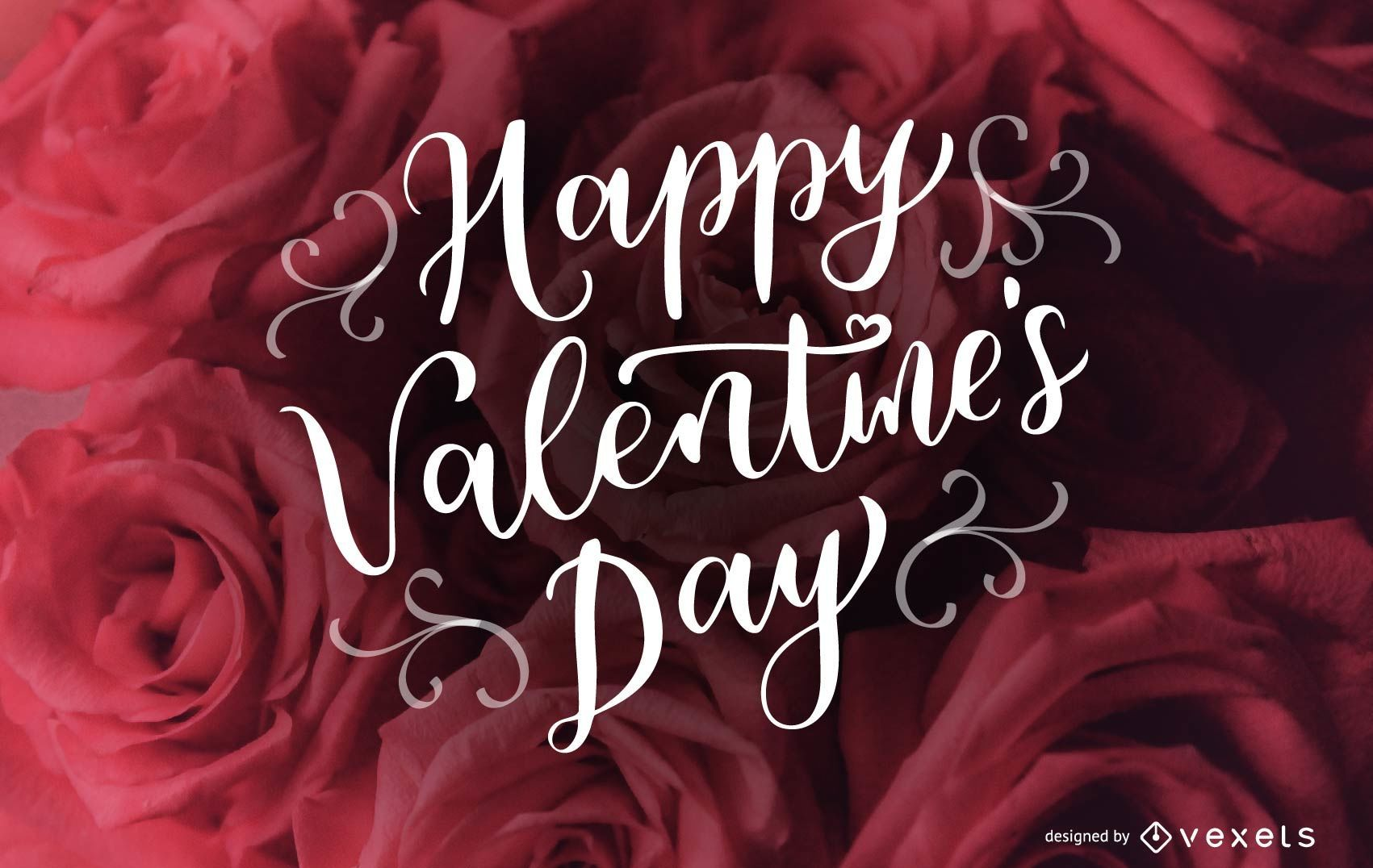 Cursive Happy Valentines Day Lettering Design Vector Download