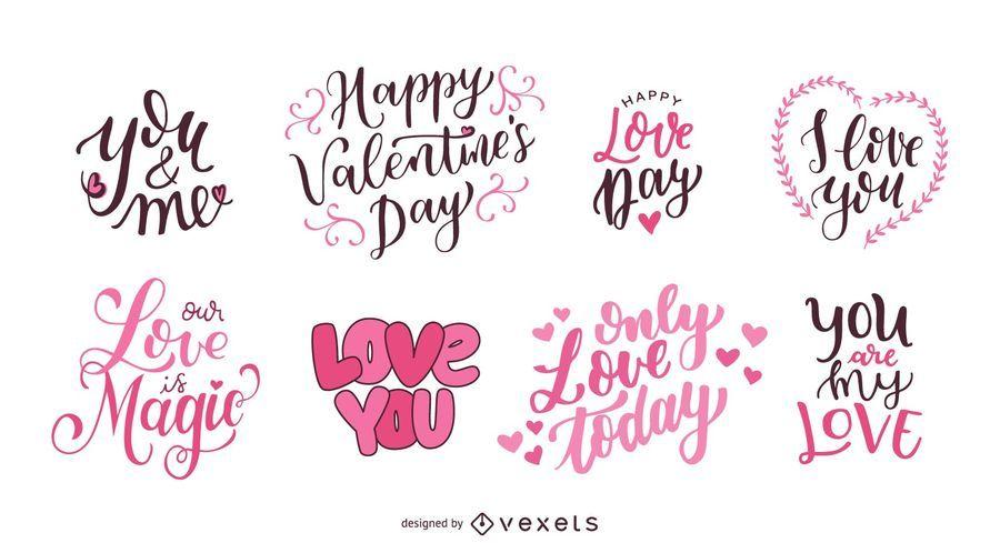 Valentine S Day Lettering Set Vector Download