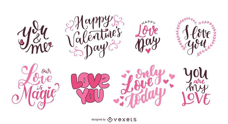 Valentine's Day Lettering Set