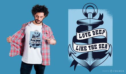 Amor profundo como o design do t-shirt do mar
