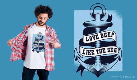 Amor profundo como o design do t-shirt do mar