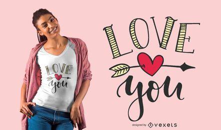 Te amo diseño de camiseta