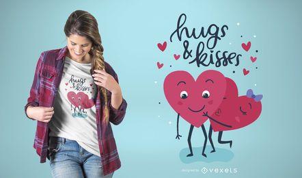 Diseño de camiseta Hugs & Kisses