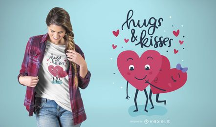 Dise�o de camiseta Hugs & Kisses