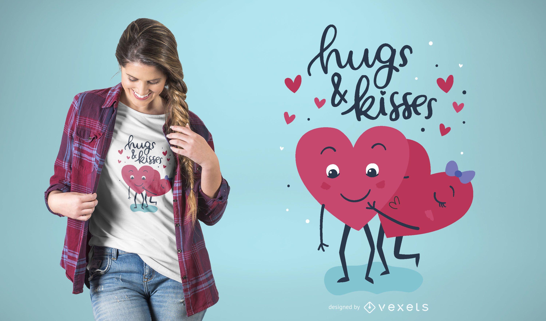 Diseño de camiseta Abrazos y besos