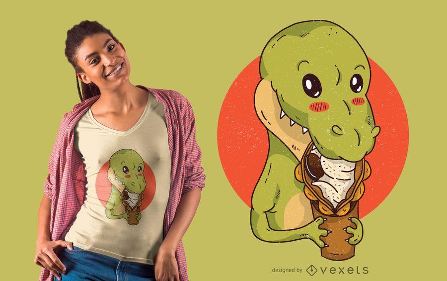 Projeto do t-shirt do Snacking do dinossauro