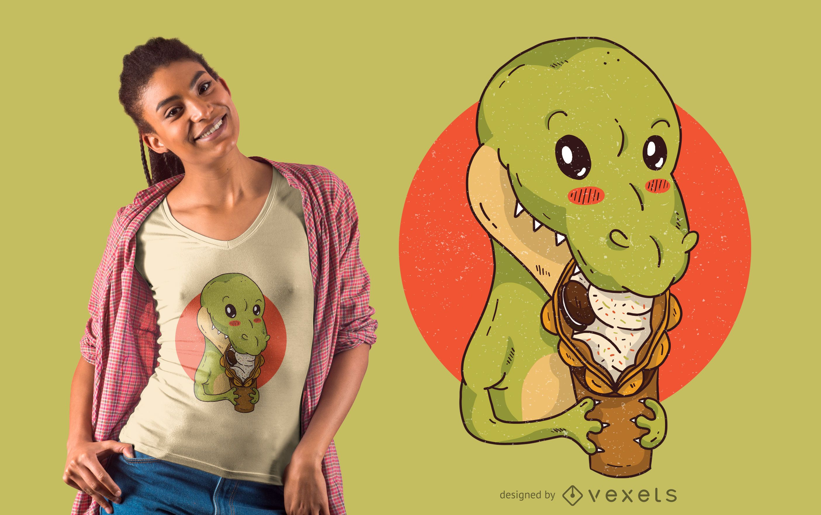 Dinosaur Snacking T-Shirt Design